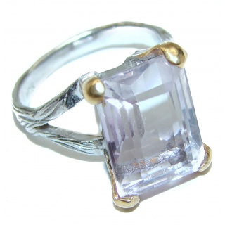 Spectacular genuine Pink Amethyst 14K Gold over .925 Sterling Silver handcrafted Ring size 6 1/4