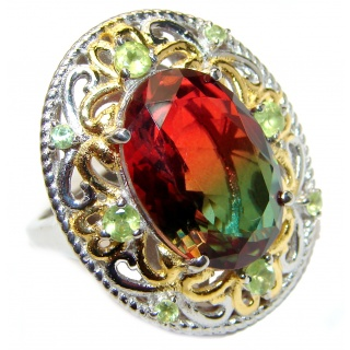 Huge Top Quality Volcanic Tourmaline 18 K Gold over .925 Sterling Silver handcrafted Ring s. 8 1/4
