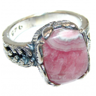 Argentinian Rhodochrosite .925 Sterling Silver handmade ring size 8 1/4