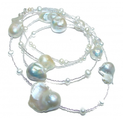 Baroque White Mother of Pearl Crystal .925 Sterling Silver Necklace 34 Inches