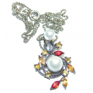 Venus Pearl Saphire .925 Sterling Silver handmade Necklace