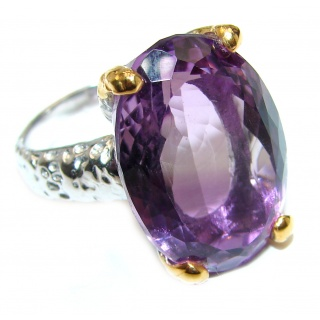 Spectacular genuine Pink Amethyst 14K Gold over .925 Sterling Silver handcrafted Ring size 7 3/4