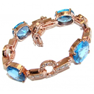 Luxury Genuine Swiss Blue Topaz Rose Gold over .925 Sterling Silver handmade Bracelet