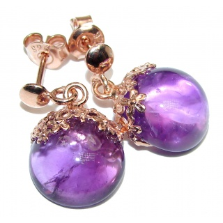 Genuine Amethyst Rose Gold over .925 Sterling Silver handmade Earrings