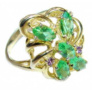 Spectacular Natural Peridot 14K Gold over .925 Sterling Silver handcrafted ring size 5 1/2