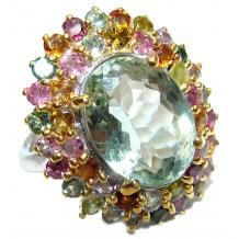 Huge Green Amethyst Tourmaline  .925 Sterling Silver handcrafted ring; s. 9