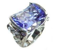 Authentic volcanic Purple  Helenite  .925 Sterling Silver ring s. 7 1/4
