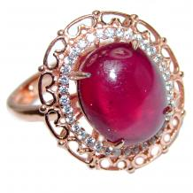 Genuine 12ctw Ruby Diamond Rose Gold over .925 Sterling Silver handcrafted  Statement Ring size  8 adjustable