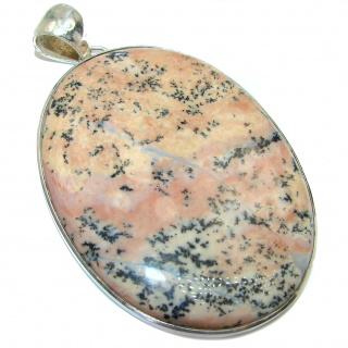 HUGE Perfect quality Dendritic Agate .925 Sterling Silver handmade Pendant