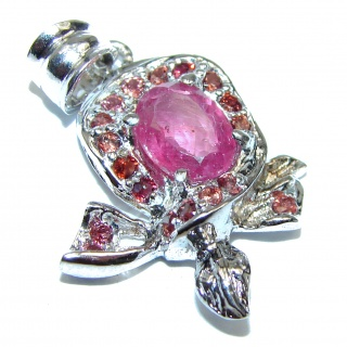 Genuine Ruby Tourmaline .925 Sterling Silver handmade Pendant
