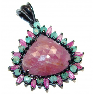 Genuine Ruby Emerald Black Rhodium over .925 Sterling Silver handmade Pendant