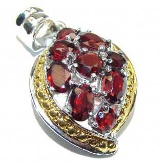 Genuine Garnet 18K Gold over .925 Sterling Silver handcrafted Pendant