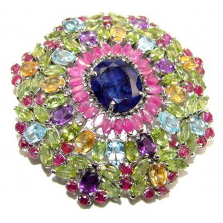 Vintage style Beauty genuine Sapphire .925 Sterling Silver handmade LARGE Pendant - Brooch