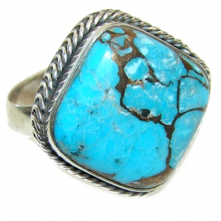 Turquoise .925 Sterling Silver handcrafted ring; s. 9 3/4