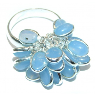 Blue Agate .925 Sterling Silver handmade CHA CHA ring s. 8