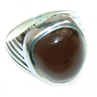 Huge Smoky Topaz .925 Sterling Silver handmade Ring size 7 3/4