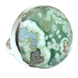 Great Ocean Jasper Sterling Silver Ring s. 6