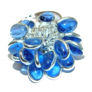 Blue Agate .925 Sterling Silver handmade CHA CHA ring s. 7