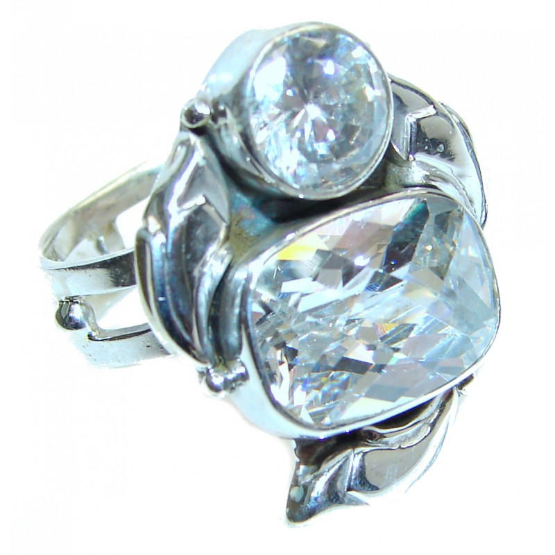 White Topaz .925 Sterling Silver handmade Ring s. 8 3/4