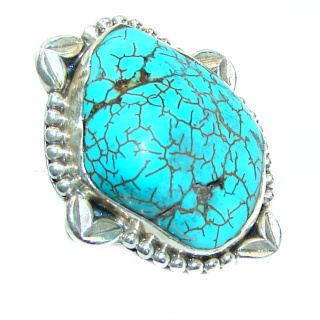 BE BOLD Huge Turquoise .925 Sterling Silver handcrafted ring; s. 7