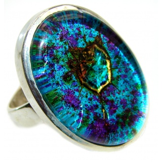 Dichroic Glass .925 Sterling Silver handcrafted Ring s. 7 1/4