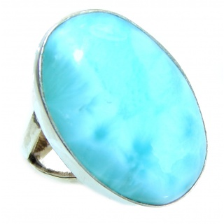 Simple Beauty Natural Larimar .925 Sterling Silver handcrafted Ring s. 6 1/4