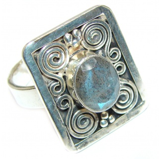 Genuine Labradorite .925 Sterling Silver handmade Cocktail Ring s. 9