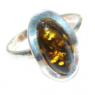 Vintage Design Baltic Amber .925 Sterling Silver handcrafted Ring s. 8 1/4