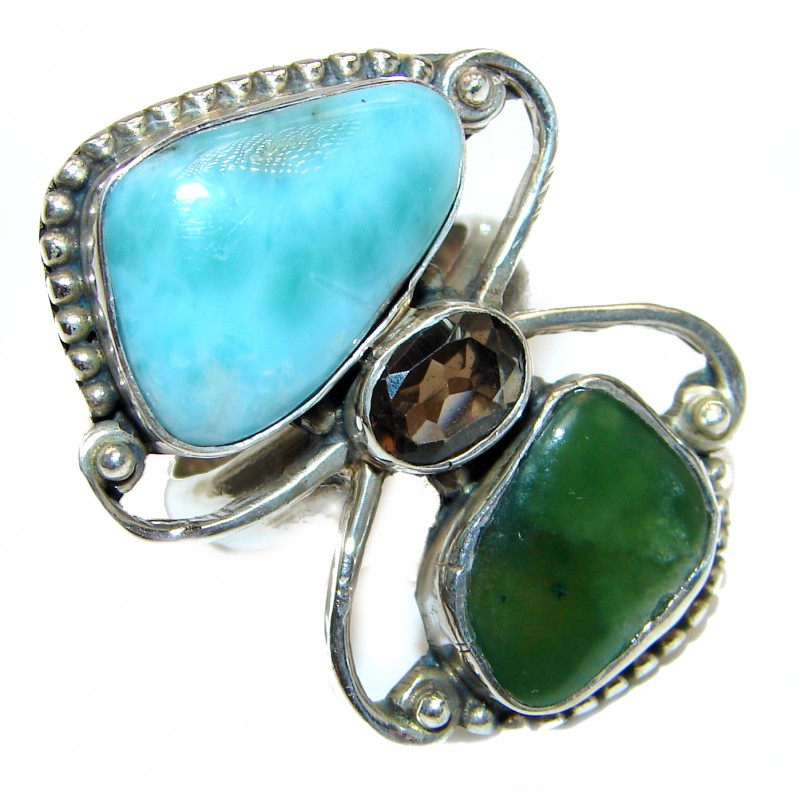Simple Beauty Natural Larimar .925 Sterling Silver handcrafted Ring s. 8