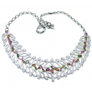 Large authentic Brazilian Tourmaline .925 Sterling Silver handcrafted Statement necklace