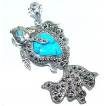 Large Blue Fish Genuine  Turquoise  .925 Sterling Silver handcrafted Pendant