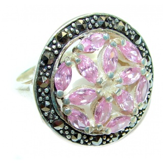 HUGE Oval cut Pink Topaz .925 Sterling Silver handcrafted Ring s. 8