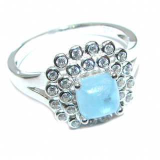 Classy genuine Aquamarine .925 Sterling Silver handmade ring s. 9