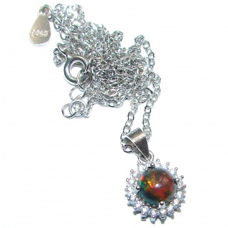 One of the kind Black Opal .925 Sterling Silver handmade necklace