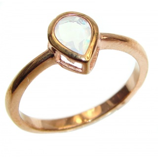 Classy Design Genuine Ethiopian Opal Rose Gold over .925 Sterling Silver handmade Ring size 8