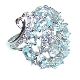 Classy genuine Aquamarine .925 Sterling Silver handmade ring s. 8 1/4