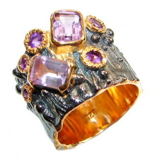 Vintage Style Natural Amethyst 14K Gold over .925 Sterling Silver handcrafted Ring s. 7