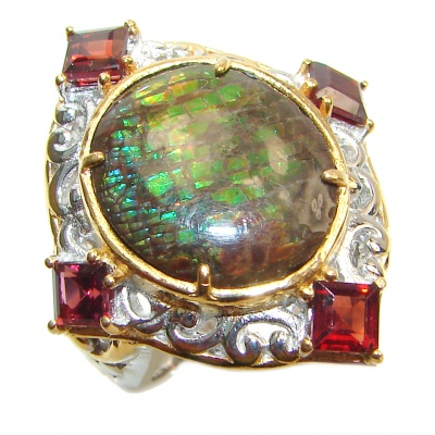 Genuine Canadian Ammolite 18K Gold over .925 Sterling Silver handmade ring size 67 1/4