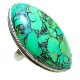Energizing green Turquoise .925 Sterling Silver handmade Ring size 6 3/4