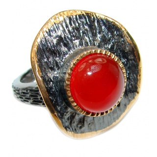 Sublime Genuine Carnelian 14K Gold over .925 Sterling Silver handmade Ring Size 6