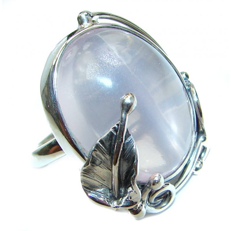 Authentic Rose Quartz .925 Sterling Silver handcrafted ring s. 8 adjustable