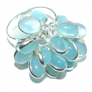 Blue Agate .925 Sterling Silver handmade CHA CHA ring s. 7 adjustable