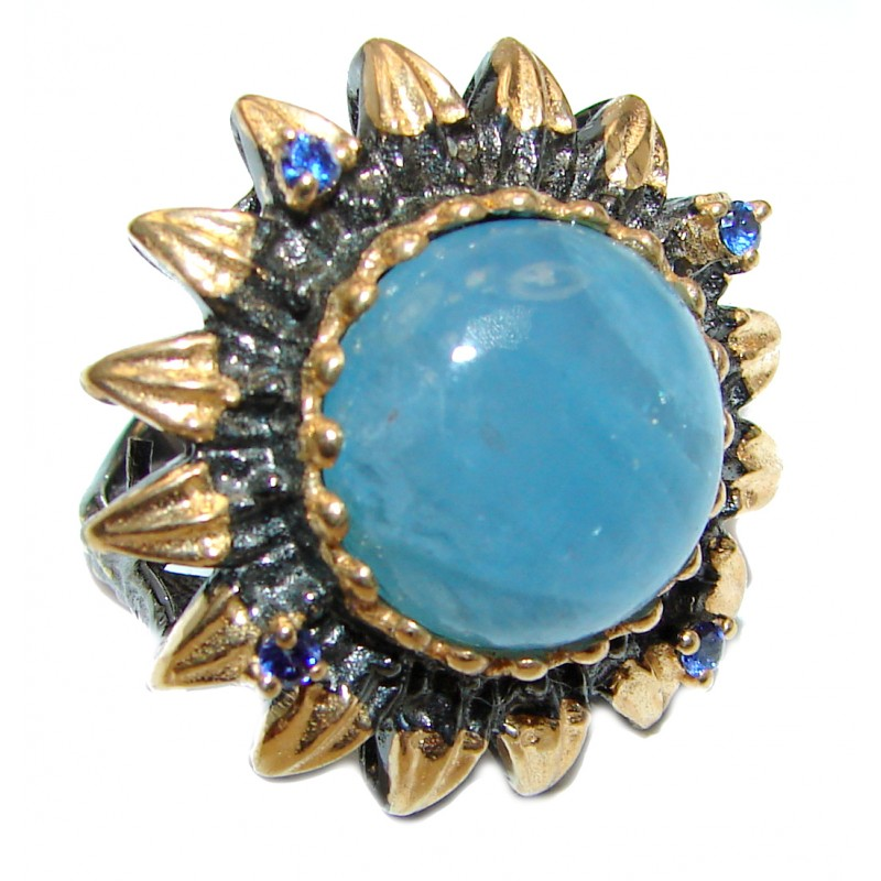 Spectacular genuine Aquamarine 18K Gold over .925 Sterling Silver handmade ring s. 7