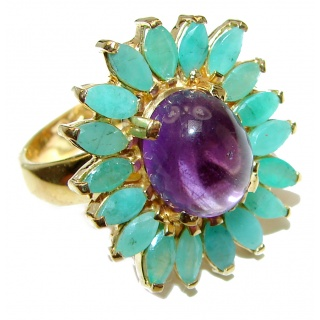 Vintage Style Natural Amethyst Emerald 14K Gold over .925 Sterling Silver handcrafted Ring s. 8