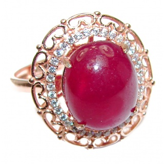 Genuine 12ctw Ruby Diamond Rose Gold over .925 Sterling Silver handcrafted Statement Ring size 7 adjustable