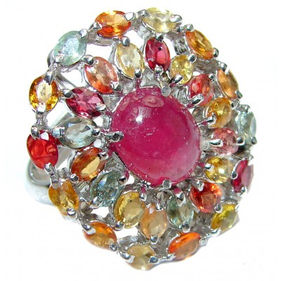 Large Genuine Tourmaline Ruby .925 Sterling Silver handcrafted Statement Ring size 8 1/2