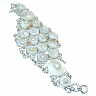 Luxury Mother of Pearl Sterling Silver .925 Silver handmade Bracelet