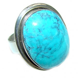 BE BOLD Huge Turquoise .925 Sterling Silver handcrafted ring; s. 8 1/4