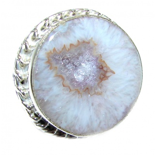 Huge Exotic Druzy Agate Sterling Silver Ring s. 7