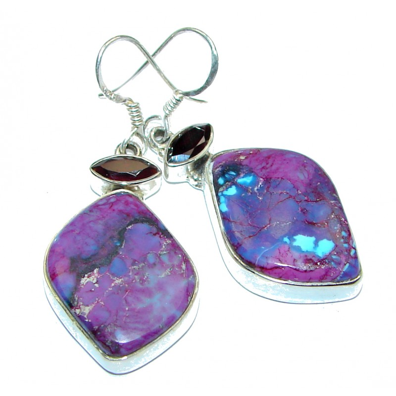 Deep purple Flower Amethyst .925 Sterling Silver handmade Earrings